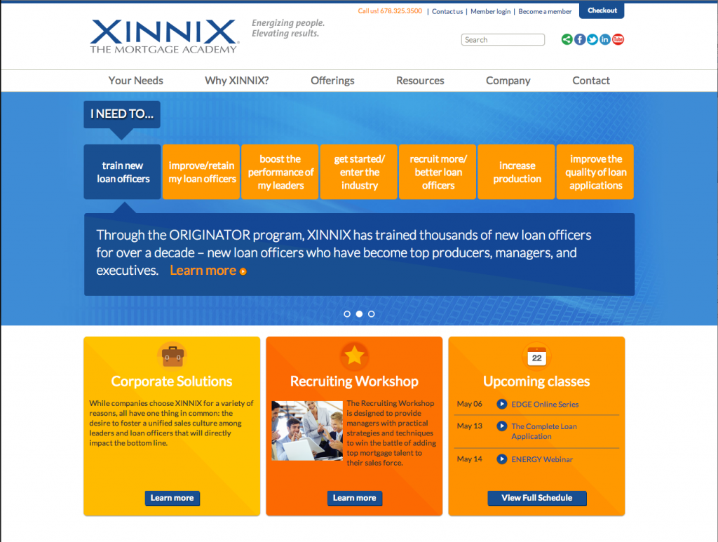 XINNIX website model for long scroll