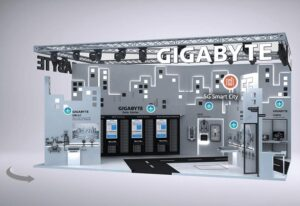 "Image of a digitally rendered tradeshow booth labeled ""Gigabyte"""